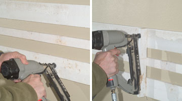 Measure, cut and install furring strips to bring the mantel face out to the desired thickness.