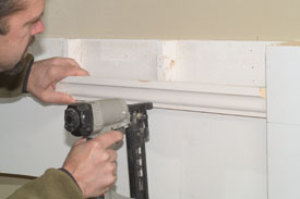 Begin the crown molding buildup.