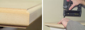 Left: Use a router to shape the edges of the mantel shelf. Right: Nail the mantel shelf into the cleats along the back.