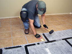 In the kitchen I installed porcelain floor tile with a Radiant Heat System.