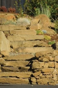Several of our local landscapes incorporate large flagstones as their stair treads.