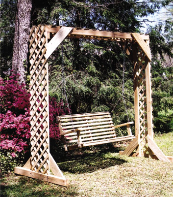 building a swing arbor is a fun weekend project that can really spruce up the landscape without requiring a lot of out of pocket expense