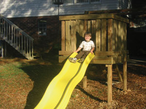 A playground slide can bring tons of fun to the backyard.