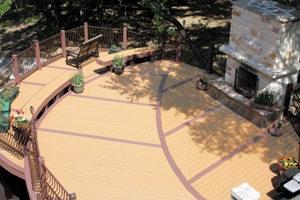Varied patterns and curved features are possible with composite deck boards.
