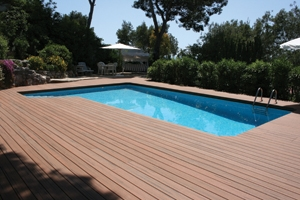 Splinter-free and slip-resistant, composite deck boards work well for pool and hot tub surrounds.