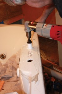 A quality hole-saw provides an accurate way to drill the mounting holes in the body of the tub.