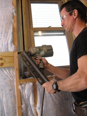 Add 2-by blocking between the studs for added fastening surface if you have the walls open.