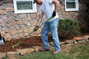I filled the interior of the rock garden area with cedar mulch, sloping the ground away from the house.