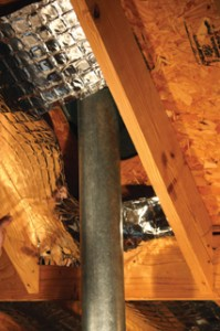 "Keep the barrier at least 6"" away from any vents and the peak of the roof."