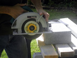 A wet saw does the best job of cutting concrete and block, but occasional cuts can be made with a handheld circ saw equipped with a carbide blade.