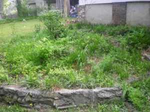 Shown here is the old retaining wall that was being replaced.