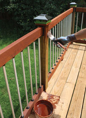 When applying a stain/sealer, start at the top and work downward, keeping a wet edge.