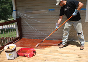 The Armstrong-Clark line of wood coatings is the only oil-based coating that can be applied in direct sunlight. The formula combines both drying and non-drying oils that provide two layers of protection in one product.