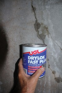 Cracks and holes can be patched using a fast-setting hydraulic cement.