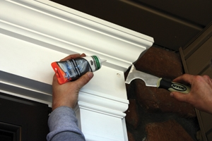 Fill all fastener holes with color-matched plastic wood filler.