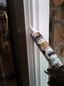 Seal all joints with paintable silicone sealant and finish with touch-up paint.