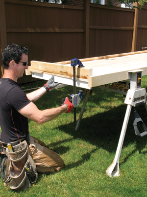 Secure the ends with clamps and blocks to keep the slab flat.