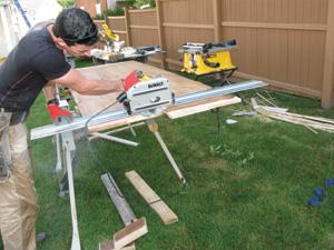 Cut the slab to length.