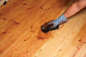 I used a cherrywood-toned gel stain—just wipe on, then wipe off. If you want more even stain absorption from the pine, consider using a wood conditioner prior to applying the stain.