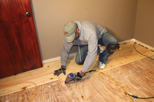 Proceed from row to row, nailing the tongues of the boards into the subfloor at a 45-degree angle. Stagger each end joint by at least 18 inches.