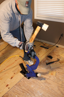 A pneumatic flooring stapler is a popular choice for professional installers. DIY'ers can usually find floor staplers available at rental outlets. The Duo-Fast FloorMaster 200-S fastens with a rock-solid connection using 2-inch, 15-gauge wire staples.