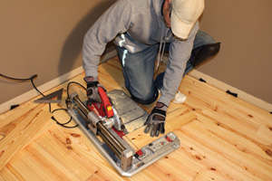 Flooring installation involves a lot of cutting. The new SKIL Flooring Saw is lightweight and compact enough to easily tote to the job site, while providing you the ability to make rips, miters and crosscuts.