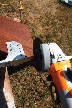 I used a grinder to trim the upper bracket to cut a mounting notch in the stringer.