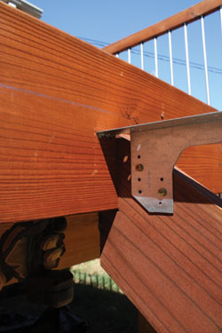 "The stringers were mounted with 3"" deck screws through the rim joist and into the back of the mounting notch."