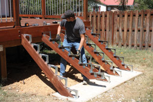 Beau Such A Wide Staircase Required Five Stringers. I Anchored The Base Stringer  Bracket To The