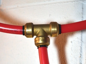 "Push-fit plumbing connections come in sizes ranging from 3/8to 1"", available as couplings, elbows, tees, connectors, reducers and end stops."