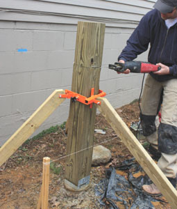 The Post-Pod from Cepco Tool makes a handy brace when setting and cutting posts (www.cepcotool.com).