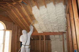 Expanding foam insulation is sprayed in place to quickly seal, soundproof and insulate walls and ceilings. In just seconds the foam expands to provide a flexible foam blanket of millions of tiny air cells, filling building cavities and sealing cracks and crevices. (Photo courtesy Tiger Foam)
