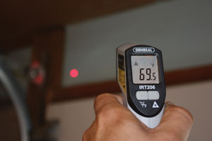 For a DIY home energy audit, it may be worth investing in an infrared thermometer such as the Heat Seeker from General Tools & Instruments Co. This handheld laser-sighted tool can detect energy loss around doors and windows, insulation, ductwork and other areas throughout the home. Unlike the expensive professional tools, it's affordably priced for typical homeowners (less than $50).