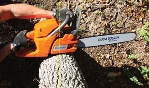 Many of today's chainsaws will come with felling marks. Similar to the sight on a gun, these lines will help the operator align the cut with the direction the tree will be felled.