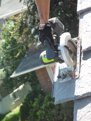 I cut slates at the end of a run with a Rockwell 18V cordless circ saw.