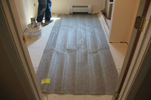 Be sure to dry-fit the heating mats before installing with mortar.
