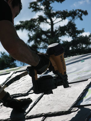 Installing Bellaforte Slates is a relatively fast procedure when compared to traditional asphalt roofing.