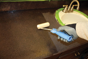 Roll on a protective top coat for a glossy finish to your new countertop.