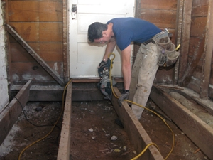 Perfect I Cut Away The Old Floor Joists For Replacement. Behind Me You Can See The