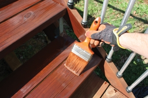 Brush the stain into the wood-grain