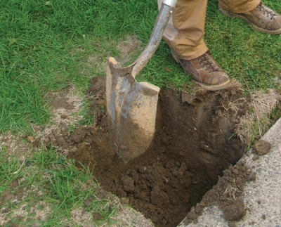 Digging a post hole