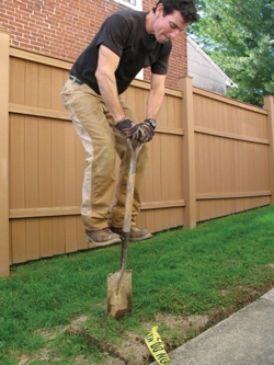 Digging with a garden spade