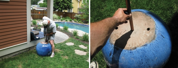 Use a masonry bit to drill the hole for the fountain standpipe