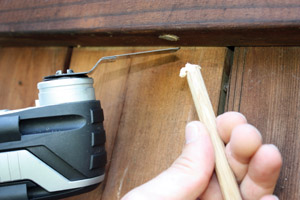 Cut off the excess dowel