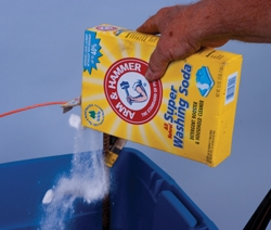Adding washing soda as electrolyte booster
