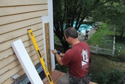 A 2x4 was used as the framing for the half post sleeve.