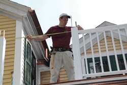 Measure between posts to determine length of your rail sections.