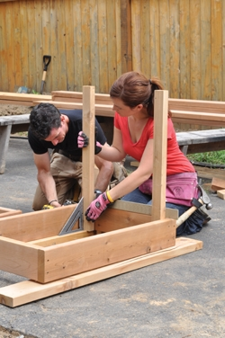 We used a framing square and a layout square to get the staves nice and square.