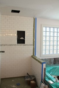 After the waterproofing is completed, the shower is ready for tile installation.