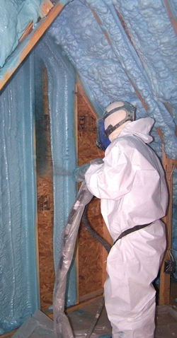 Spray foam is available in two versions, low-density and medium-density. The product is a spray-applied insulating foam plastic that is installed as a liquid and then expands many times its original size.